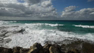 Panoramic view the Caribbean Sea coastline at hot summer sunny day. Waves of Stock Footage