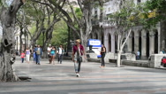 Latino local people and tourists are walking on an alley of central street in Stock Footage
