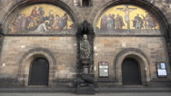 4k St. Peter's Cathedral outside view front close up in Bremen city Stock Footage