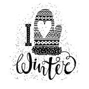 I love winter text and knitted woolen mitten with heart. Seasonal shopping Stock Illustration