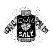 Winter Special banner or label with knitted woolen sweater. Business seasonal Stock Illustration