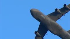 Lockheed C-5 Galaxy Fly By CU Stock Footage
