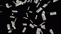 One Hundred Dollar Bill Raining on Black Background Stock Footage