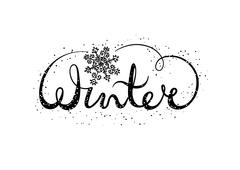 Winter text lettering with snowflake. Seasonal shopping concept to design Stock Illustration