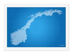 Norway on blueprint Stock Illustration
