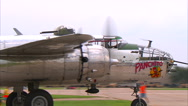 North American B-25 Taxi CU Stock Footage