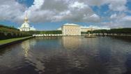Kolonistky park and pond in Peterhof Stock Footage