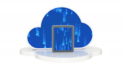 Tablet computers with cloud, cloud computing, tablet pc Stock Footage
