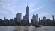 Lower Manhattan Skyline Cityscape from Hudson River Stock Footage