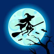 Halloween illustration of mysterious night sky with witch fly on broom and moon Piirros