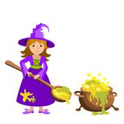 Vector cartoon image of funny witch with red hair purple dress and pointed hat Stock Illustration