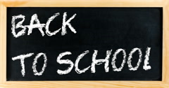 Animation with blackboard frame with written back to school Stock Footage