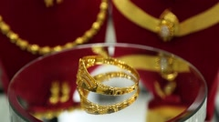 Gold ring lady jewelry accessories Stock Footage