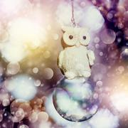 Snowy Christmas decoration with vintage owl Stock Photos