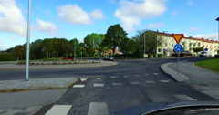 Driving a car through the small city of Visby in Sweden Stock Footage