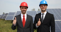 Happy Business Men Looking Camera Thumb Up Sign Hand Gesture Photovoltaic Cells Stock Footage