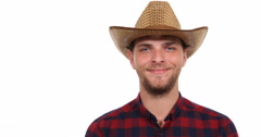 Smiling Farmer Man Looking Camera Happy Portrait of European Rancher Activity Stock Footage