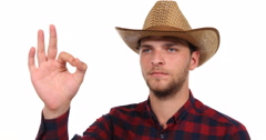 Serious Gardener Farmer Man Looking Sideways Interview Show Ok Sign Hand Gesture Stock Footage