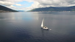 Aerial view of yacht in the sea Stock Footage