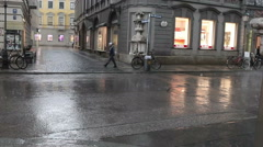 Hail and heavy rain in the city on June 1, 2012 in Stuttgart, Germany Stock Footage