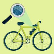 Electric bicycle, magnifying glass and electronics Stock Illustration
