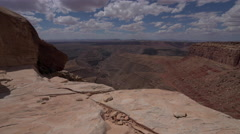 Muley Point Overlook Mexican Hat UT low wide angle dolly shot Stock Footage
