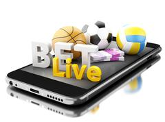 3d Smartphone with sport balls, money and bet live. Betting concept. Stock Illustration