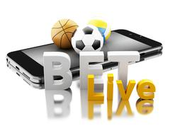 3d Smartphone with sport balls and bet live. Betting concept. Stock Illustration