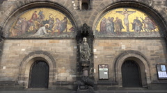 4k St. Peter's Cathedral outside view front tilt up in Bremen city Stock Footage
