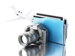 3d Photo camera with folder. Photo album. Piirros