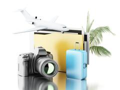 3d Photo camera with folder, airplane and suitcase. Stock Illustration