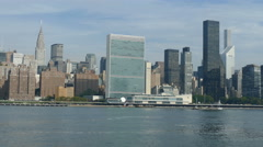 United Nations, Trump Tower and Chrysler Building at East River, Manhattan Stock Footage