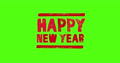 4 Animated Green Screen Text HAPPY NEW YEAR Stock Footage