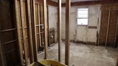 Interior Pan Shot of Flood Damaged House Stock Footage