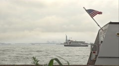 Statue of Liberty boats Stock Footage