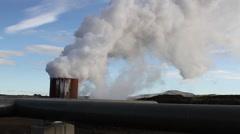 Iceland:  Geothermal borehole outside the Reykjavik area.  Geothermal energy Stock Footage