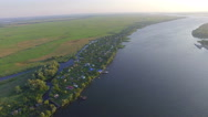 A village in the Delta of river. aerial view Stock Footage