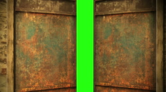 Animation - metal rusty door opening to green screen background Stock Footage