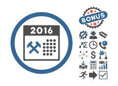 2016 Working Days Flat Vector Icon With Bonus Stock Illustration