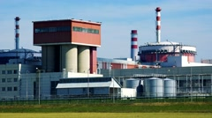 Factory (nuclear power station) - closeup of buildings and chimneys - closeup Stock Footage