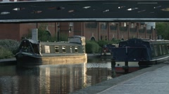Barges on the Birmingham Canal System. Stock Footage