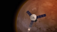 Satellite revolving over mars atmosphere Stock Footage