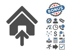 Building Entrance Flat Vector Icon With Bonus Stock Illustration