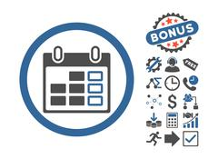 Calendar Week Flat Vector Icon With Bonus Stock Illustration