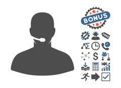 Call Center Flat Vector Icon With Bonus Stock Illustration
