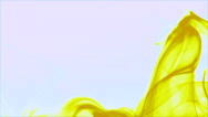 Curly wave of yellow smoke on white background - abstract motion background Stock Footage