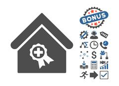 Certified Clinic Building Flat Vector Icon With Bonus Stock Illustration