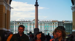Tourists Near General Staff Arc and Palace Square in St.petersburg, Russia Stock Footage