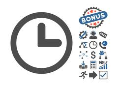 Clock Flat Vector Icon With Bonus Stock Illustration