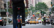 Street Traffic and Bicyclists on Park Avenue in Manhattan New York City 4K Stock Footage